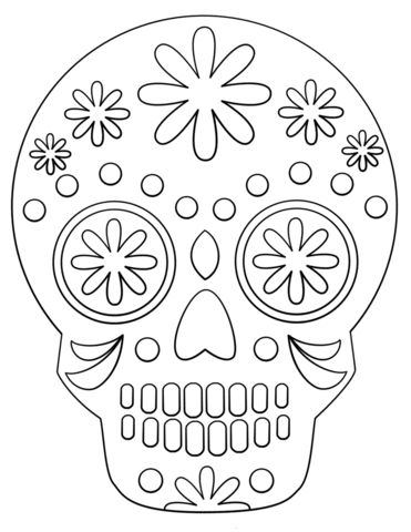 Simple Sugar Skull fargelegge.
