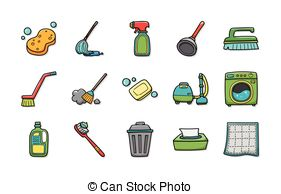 Clipart Vector of simple cleaning tools outline icons set eps10.