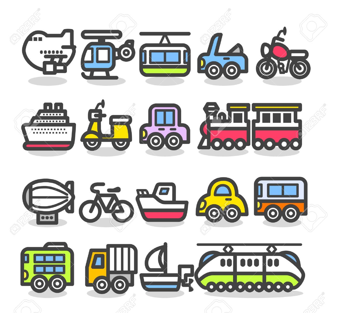 Cute Simple Transportation Icon Royalty Free Cliparts, Vectors.