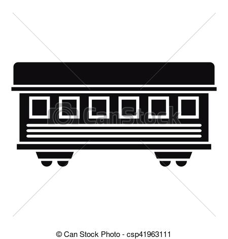 Vector Clip Art of Passenger train car icon, simple style.
