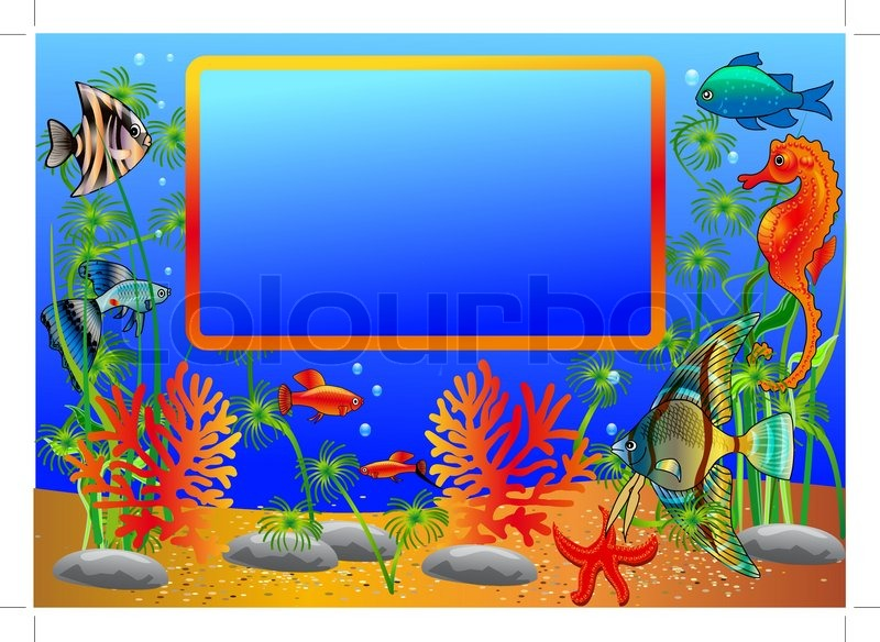 Illustration frame with undersea fish and algae.