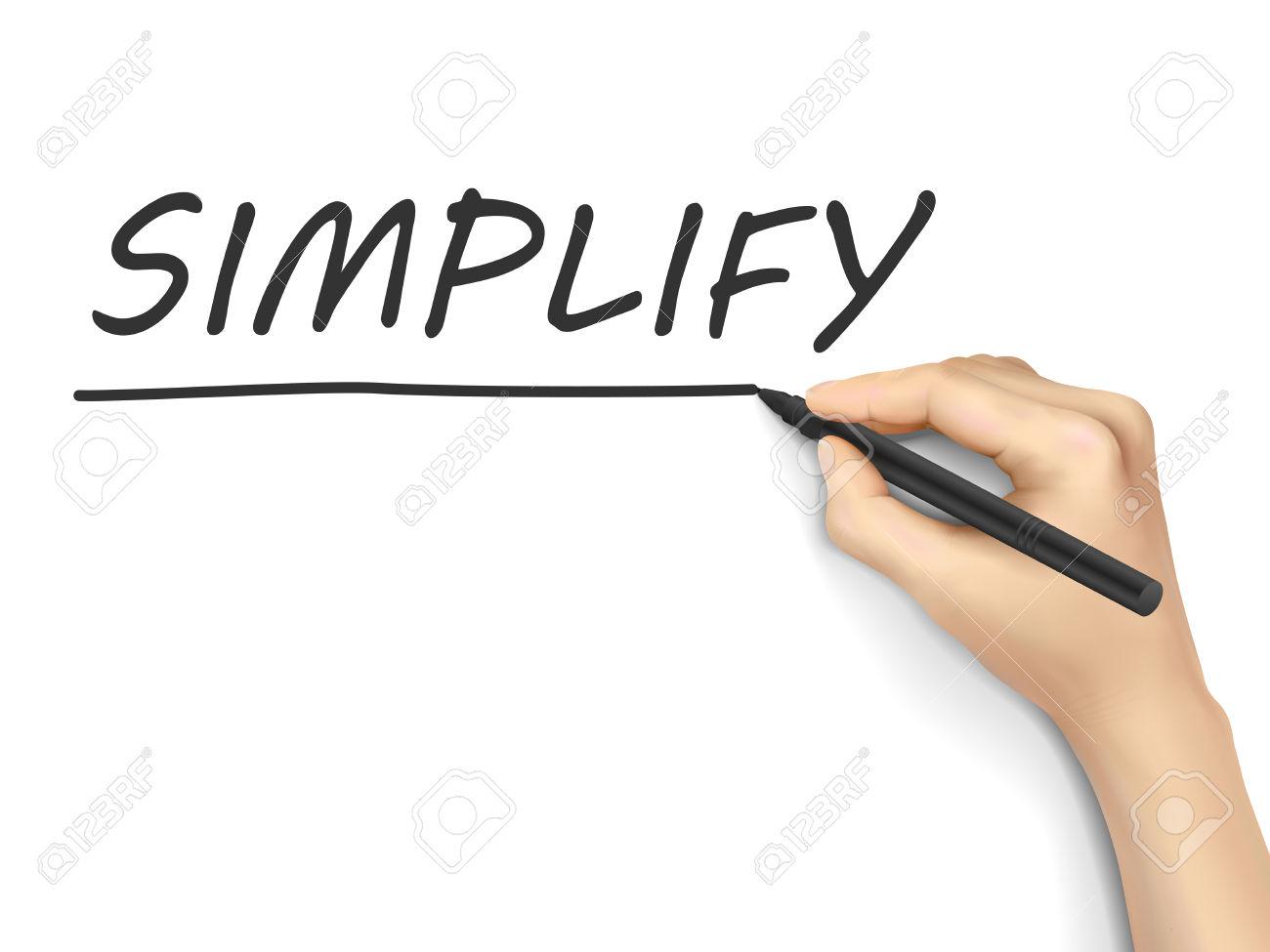 Simplificar La Palabra Escrita A Mano Sobre Fondo Blanco.