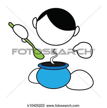 Clipart of Simplified cartoon boy cooking k10425223.
