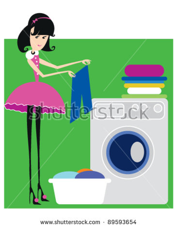 Busy Housekeeper Simultaneously Doing Many Tasks Stock Vector.