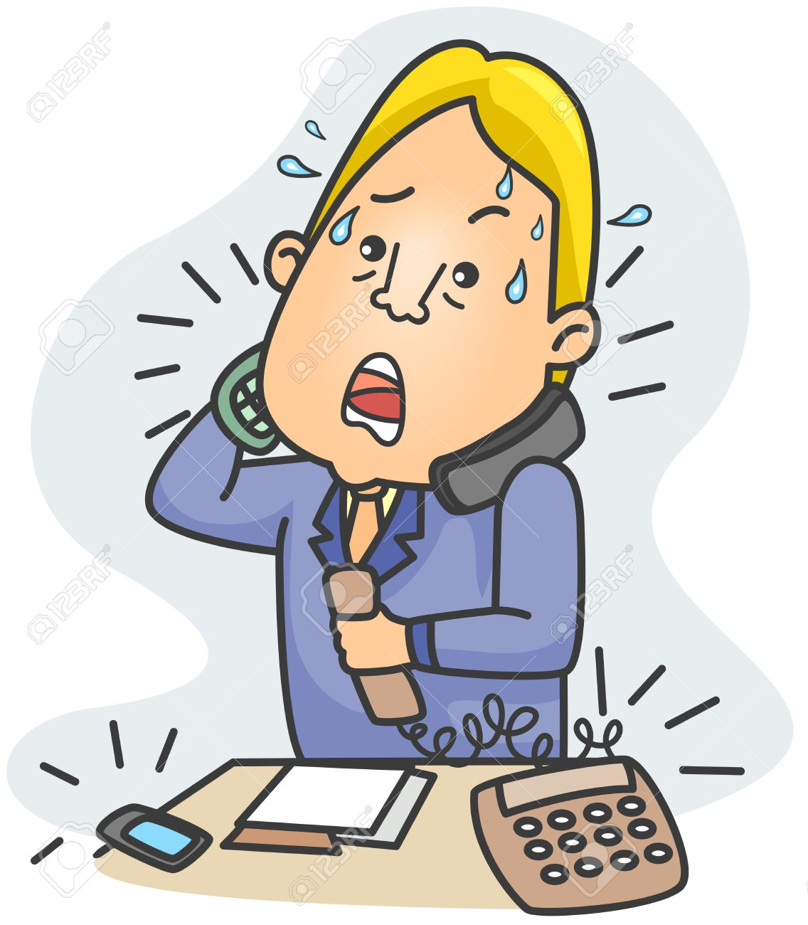 Illustration Of A Businessman Answering Simultaneous Calls Stock.
