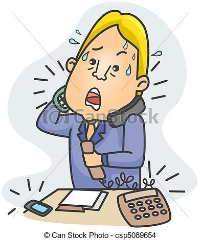 Drawing of Businessman Answering Calls.