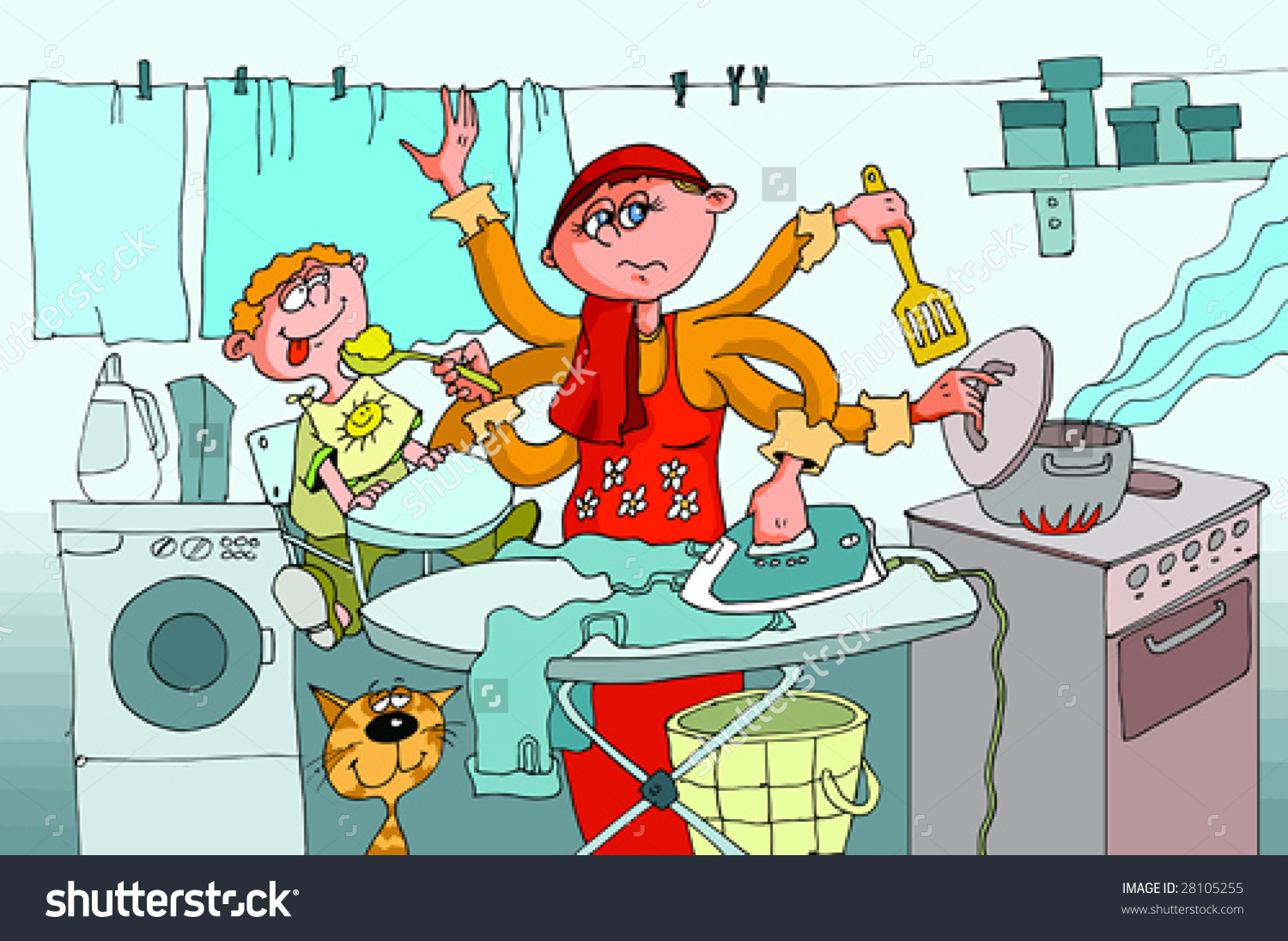 Housewife Engaged Homework Simultaneously Feeds Child Stock Vector.