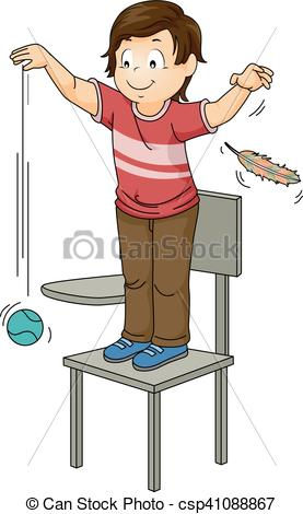 Clip Art Vector of Kid Hold Feather Ball Drop Physics.