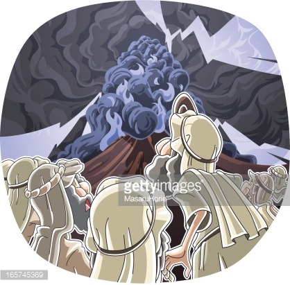 The Lord Descended On Mount Sinai Vector Art.