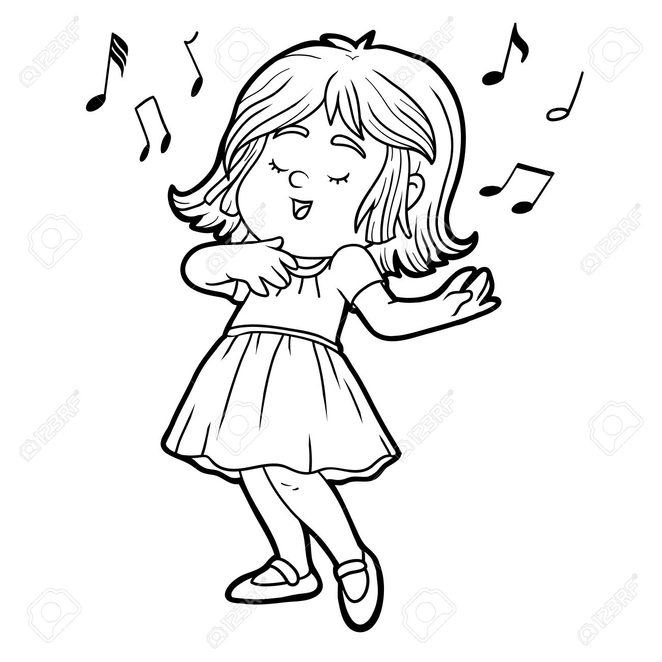 Girl Singing Clipart Black And White.
