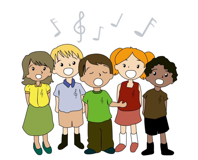 Free clipart kids singing.