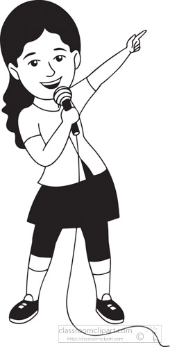 Music : Black White Girl Singing With Microphone Clipart.