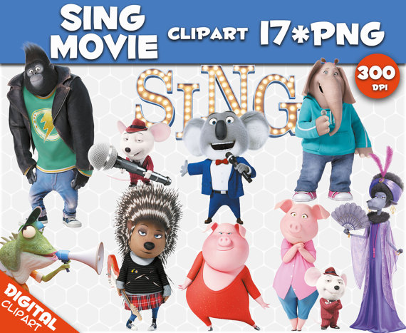 Sing movie Clipart 17 PNG 300dpi Images Digital Clip Art.