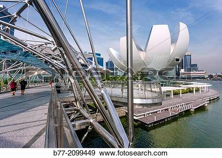 Stock Photograph of Singapore, view of Marina Bay and the Art.