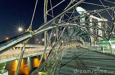 Double Helix Bridge In Singapore At Night Stock Image.