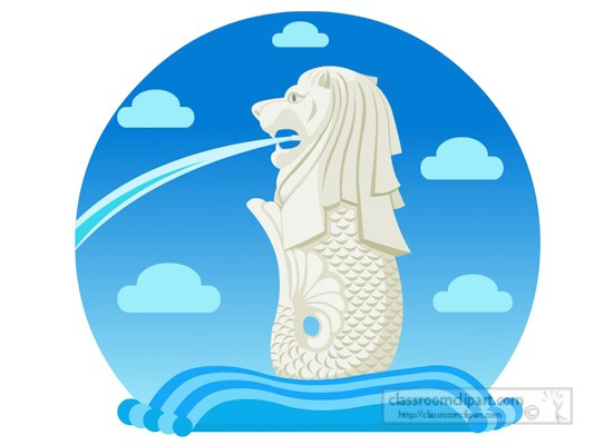Merlion fountain lions head mythical creature singapore.