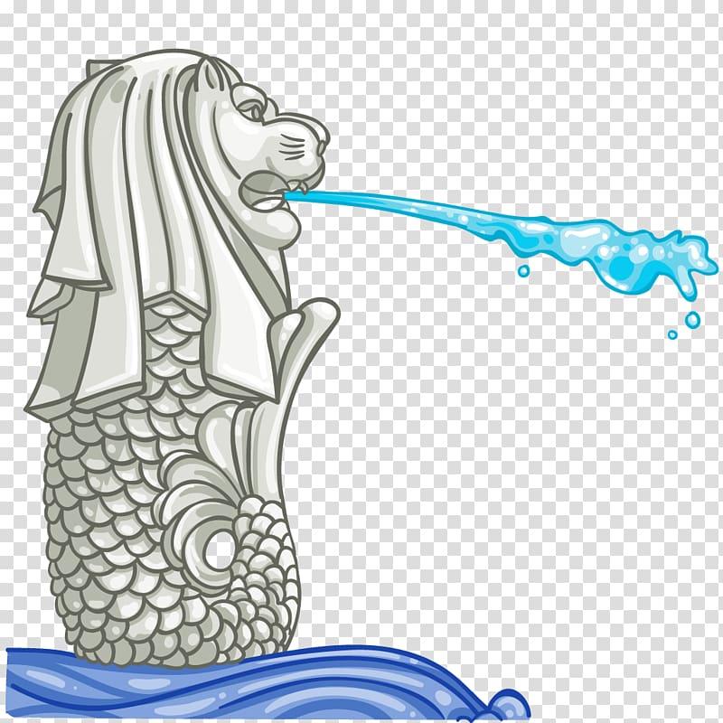 Merlion logo illustration, Merlion Park Drawing, SINGAPORE.