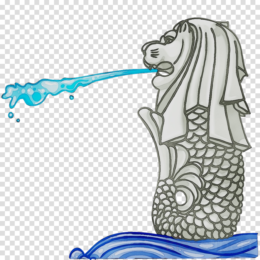 Merlion Cartoon clipart.