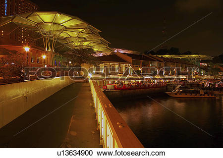 Stock Photography of Riverside Point restaurants and cafes along.