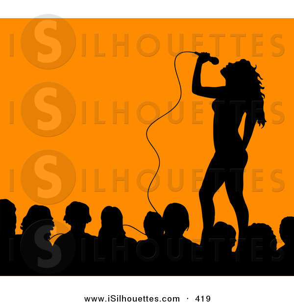 Silhouette Clipart of an Attractive Female Singer on Stage.