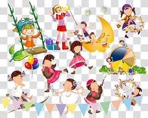 Singing and dancing children transparent background PNG.