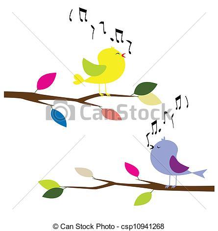 Clip Art Vector of birds singing.