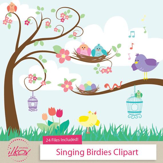 Professional Cute Singing Birds Clipart for Digital Scrapbooking.