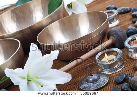 Accessories For Sound Massage. Tibetan Singing Bowls Treatment.