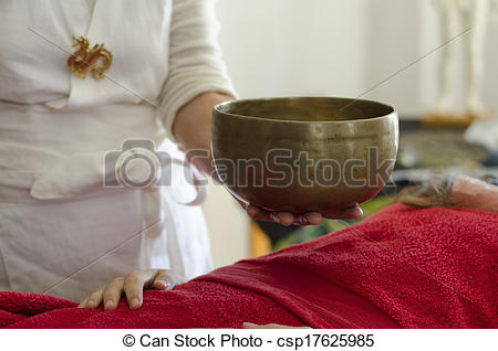 Pictures of Practitioner healing with Tibetan singing bowls.