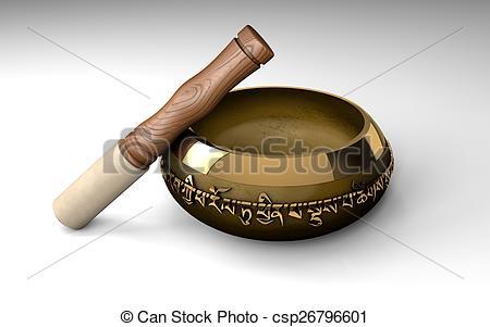 Stock Illustration of Tibetan buddhist singing bowl for meditation.