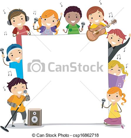 Vector Clip Art of Singing Classes Kids.