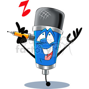 cartoon microphone mascot character singing clipart. Royalty.