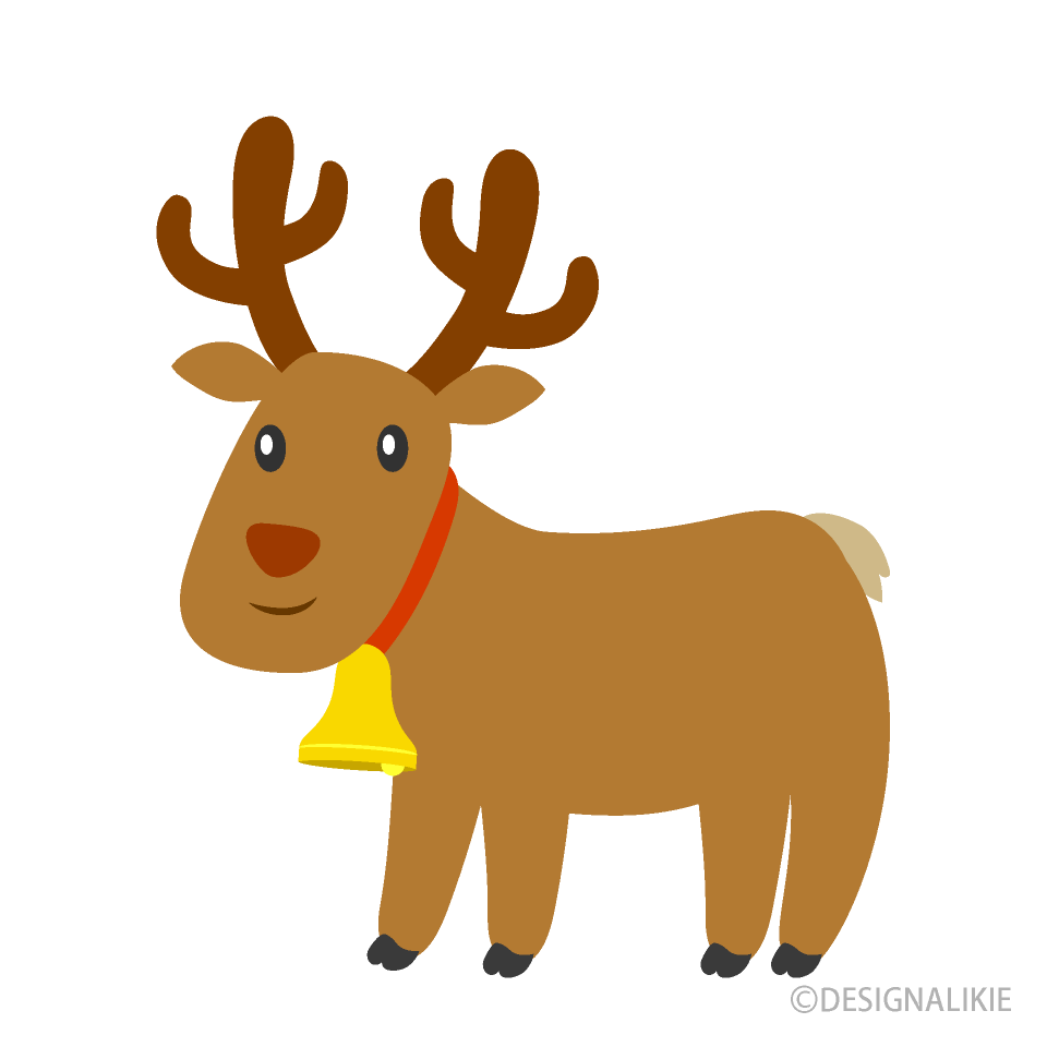 Free Reindeer with Bell Clipart Image|Illustoon.