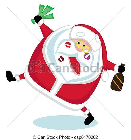 Clip Art of Singing Santa.