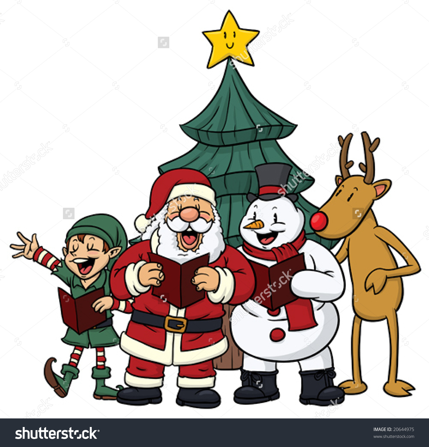 Cute Cartoon Christmas Characters Singing Stock Vector.