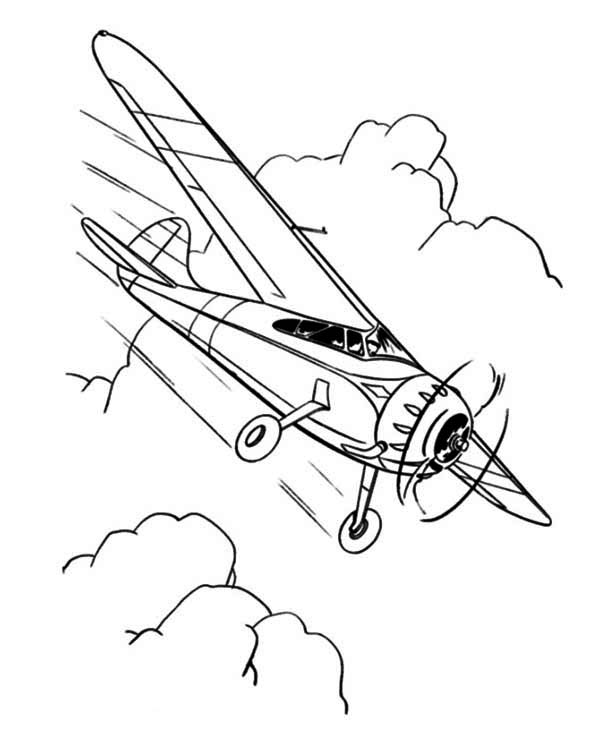 single engine propeller airplane coloring page.