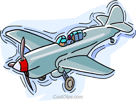 Airplane, single engine propeller plane Royalty Free Vector Clip.