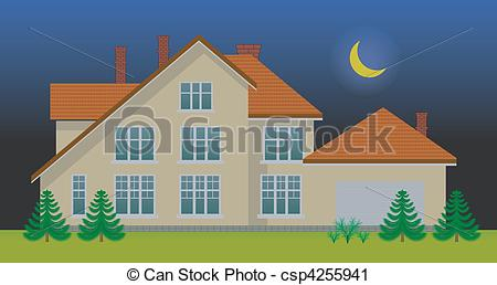 Vector Clip Art of New family house in the night. See day version.