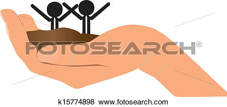 Clip Art of two new born in single hand k15774898.