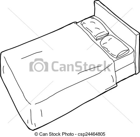 Vector Clipart of Outlined Bed Illustration.