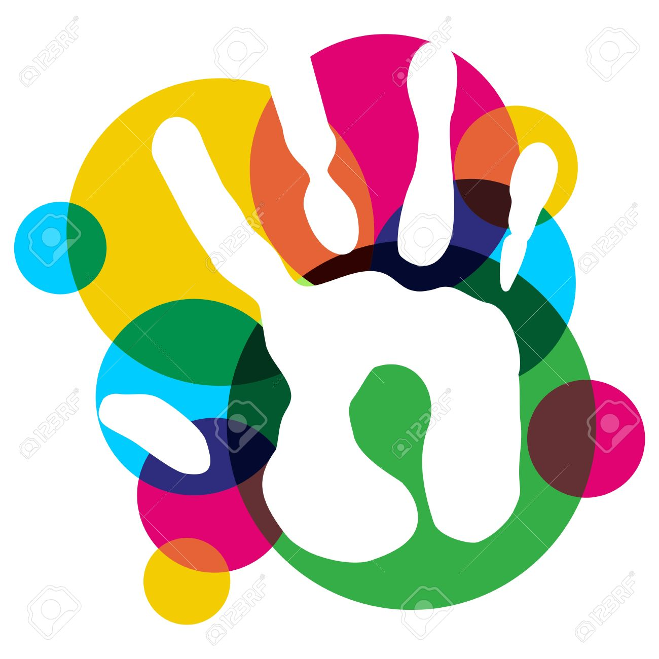 Multicolor Creative Diversity Single Hand Isolated Vector.