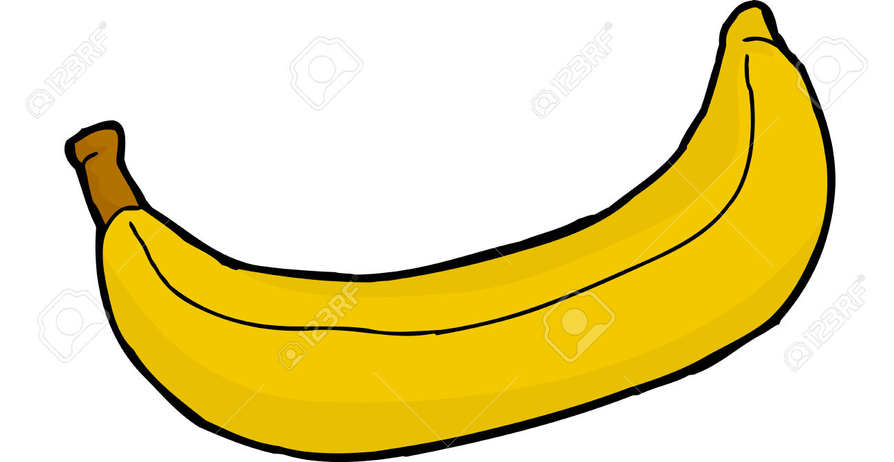 Single Hand Drawn Banana Over White Background Royalty Free.