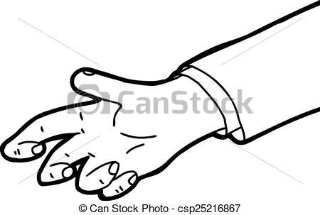 Clip Art Vector of Outline of Grabbing Hand.