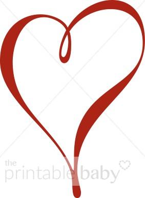 Single Red Ribbon Heart Clipart.