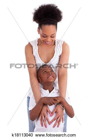 Stock Photography of Young african american single mother with her.