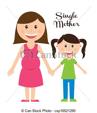 EPS Vectors of single mother over white background vector.
