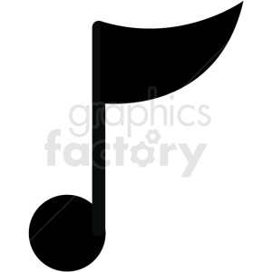 single music note vector image clipart. Royalty.