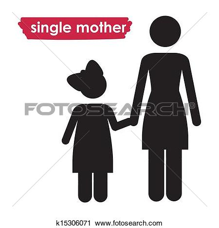 Clipart of single mother k15306045.