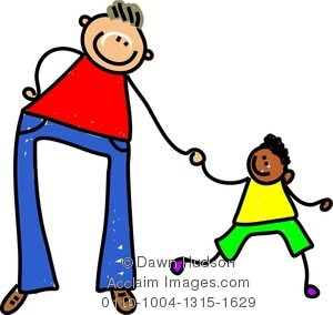 Clipart Image of Happy Caucasian Father & Little Ethnic Son.