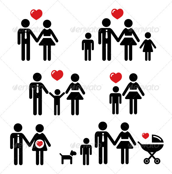 Family Icons Set Parenting Single Couples Married Couples With.